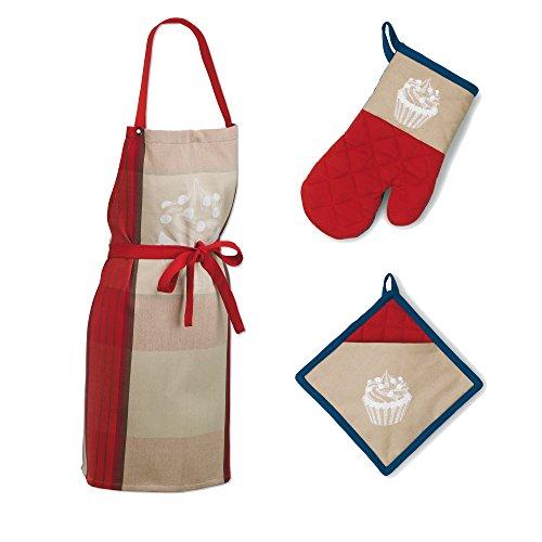 Kela 390150 Frida Set Cuisine 3 Pièces Coton Beige/Rouge/Bleu