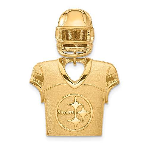 NFL Sterling Silver GP Pittsburgh Steelers Jersey and Helmet Pendant