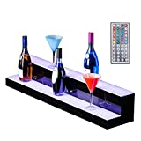 Nurxiovo 30\\ 2 Step LED Liquor Bottle Display Shelf RGBW Illuminated Bottle Shelf Color Changing with LED Color Remote Control L30xW8.5xH6.9\\
