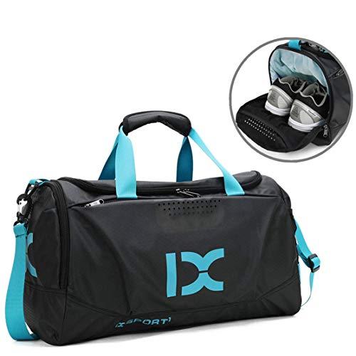 BAIGIO Sporttasche Wasserdicht Reisetasche Herren Damen Weekender Handgepäck Tasche mit Schuhfach für Reise Sport Gym Fitness (Blau)