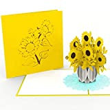 PrimePopUp | Sonnenblumen Blumenstrauß | 3D Pop Up Grußkarte | Gute Besserung Karte | Viel Glück | Alles Gute | Gesundheit | Erfolg | Geburtstagskarte für Geldgeschenk oder als Gutschein