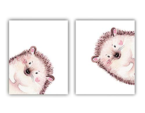 """VOUORON Cute Animals Pink and Brown Hedgehog Inspirational Words Quote Art Painting Set of 2 (8""""X10"""" Canvas Picture),Peekaboo Hedgehog Wall Art Print Poster for Nursery or Room Home Decor,No Frame"""