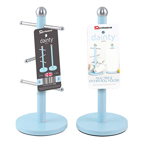SQ Professional Dainty Mug Tree and Kitchen Roll Holder Set - Skyline Blue