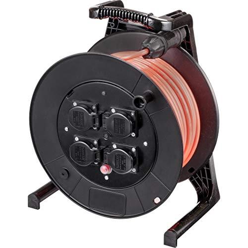 JUMBO® L Kabeltrommel mit 4 Steckdosen H07BQ-F Leitungsfarbe pink, Querschnitt 3 x 1,5 mm², Länge 40 m