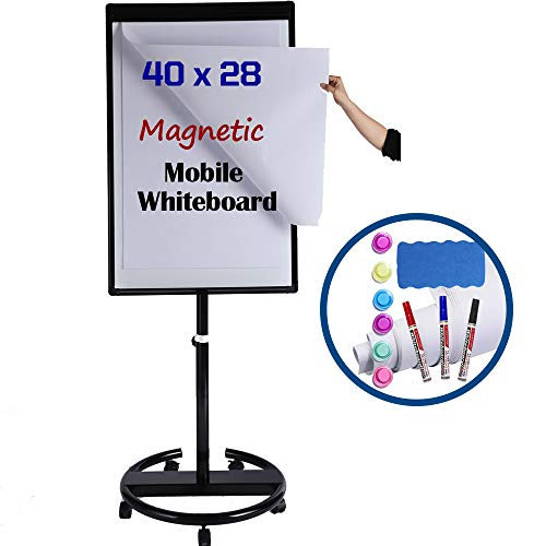 Magnetic Mobile Whiteboard/Height Adjustable Dry Erase Board Easel on Rolling Stand, 40 X 28 Inch, w/Flipchart Easel Pad, Magnets, Markers & Eraser, Black
