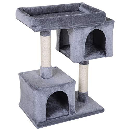 Pawhut Árbol Rascador para Gatos Centro de Actividades para Mascotas con 2 Cajas Plataforma Cubierto de Felpa Suave Postes de Sisal Ecológico 60x40x86 cm Gris