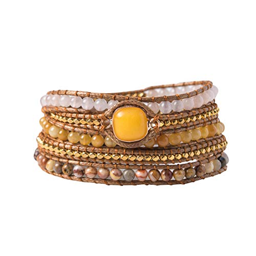 YGLINE Natural Sunny Yellow Jade Gemstone Wrap Bracelet for Women