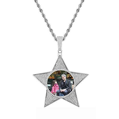 Personalized Photo Hip Hop Pendant Necklace Personalized Mother's Day Birthday Father's Day Anniversary Charm Necklace for Women Men Silver Star-22'(55cm)