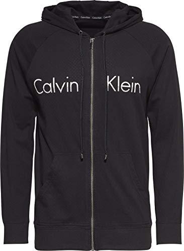 Calvin Klein Herren Full Zip Hoodie Sweatshirt, Black W/White Logo, Small