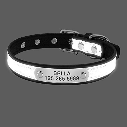 AEAP Engrave Reflective Dog Collar Custom Leather Pet Collars Cat ID Tag for Small Medium Large Pets Name Tel NO. Chains Dogs Gift