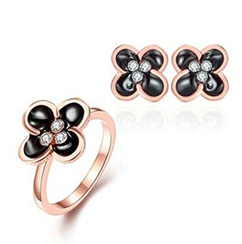 Aeici Roségold Schmuckset Design Clover Intarsien Cz Ring Ohrringe 2St