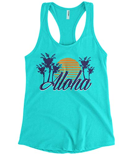 Women's Aloha Hawaiian Hi Hawaii Palm Tree Sunset Racerback Tank Top (Light Blue, Medium)