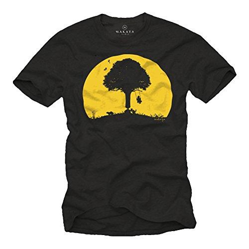 MAKAYA Camisetas con estampas Divertidas - Arbol con bichos - Negra Talla M