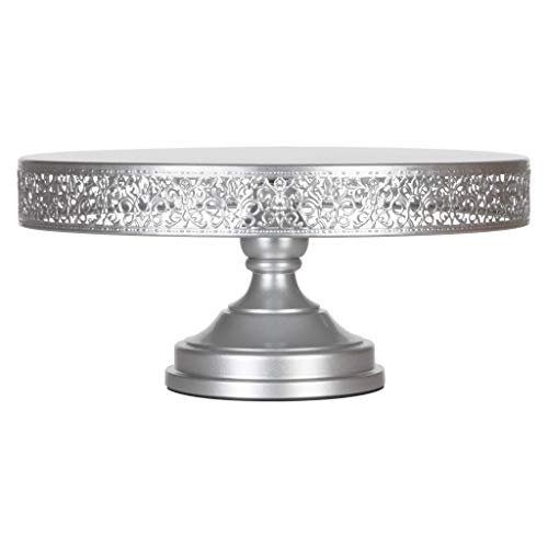 Amalfi Decor Cake Stand Large Round Metal Pedestal Holder Silver 16 Inches
