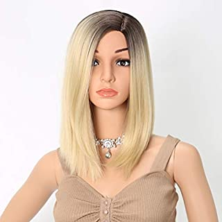 Trendy Blonde Wig with Dark Roots Short African American Wigs for Women Straight Bob Hair