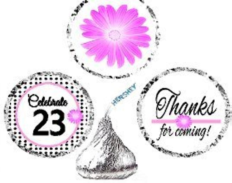 CakeSupplyShop Item 023BPH 23rd Birthday   Anniversary Pink Black Polka Dot Party Favor Hersheys Kisses Candy Decoration Stickers   Labels 216ct