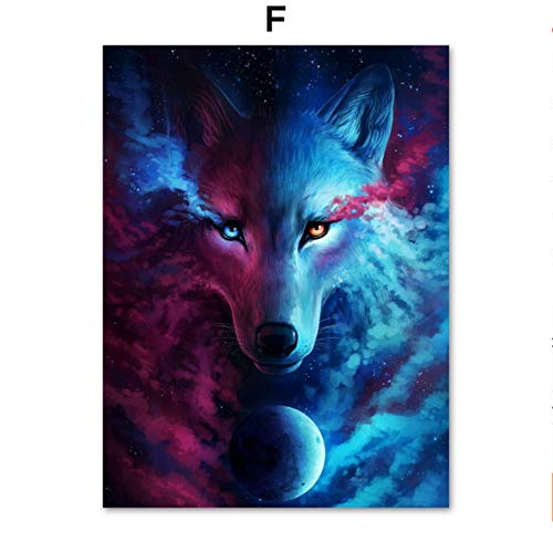 SDFSD Creative Surreal Fantasy Wolf Moon Deer Owl Lion Wall Art Canvas Painting Nordic Posters And Prints Wall Pictures For Living Room Decor F 40 * 50cm