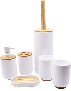 BeBuy24 Set de 6 accessoires de salle de bain en bambou blanc avec distributeur de savon, porte-brosse WC, porte-brosse à ...