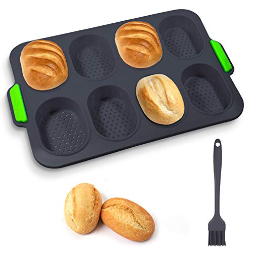 Silicone Mini Baguette Baking Tray Non-Stick French Bread Pans Loaf Baking Mould Perforated Bread Baking Tin Bread Crisping Tray Muffin Trays for Cakes Breadstick & Bread Rolls 8 Wave Loave Black