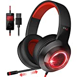 EDIFIER G4 Gaming Headset for PC, PS4, 7.1 Surround Sound Gaming Headphones with Noise Canceling Microphone, Wired USB On-Ear Headphone with Vibration Driver & LED Light for Mac, Laptop,Red