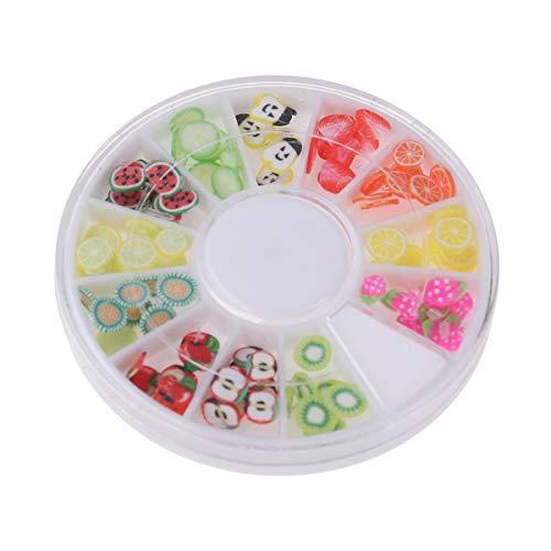 Lurrose Lot de 12 autocollants pour nail art en argile douce mignonne de fruits à faire soi-même