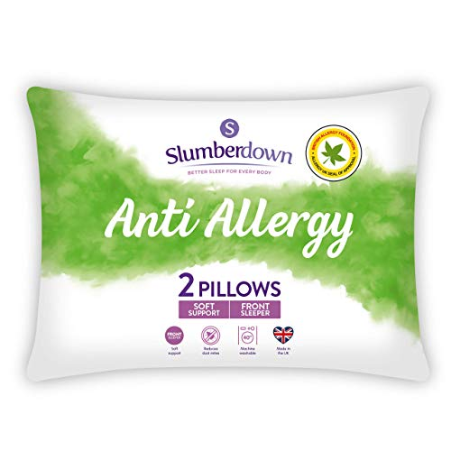 Slumberdown Anti Allergy White Pillows 2 Pack Soft Support Bed Pillows Designed for Front Sleepers