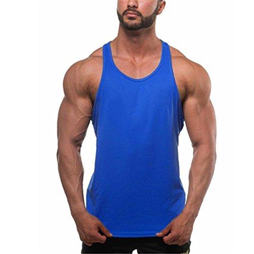 Herren Microfiber Bodybuilding Stringer Sport Tank Top Krafttraining Men\'s Sportshirt Trägershirt T (M, Dunkelblau)