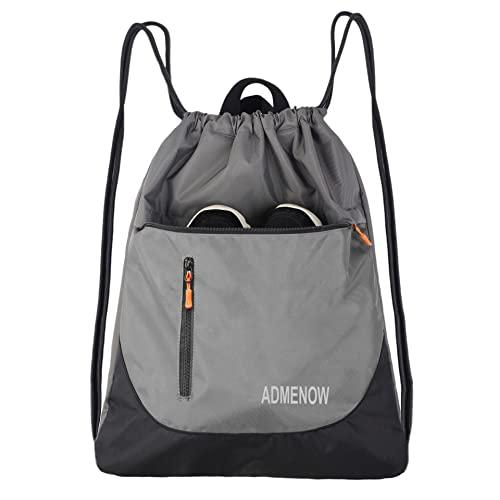 Gym Drawstring Backpack String Bag Men Women Workout Dance Sack Pack Sackpack (Gray)