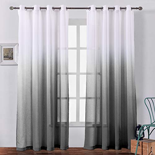 Bermino Faux Linen Ombre Sheer Curtains Voile Grommet Semi Sheer Curtains for Bedroom Living Room Set of 2 Curtain Panels 54 x 84 inch Black Gradient
