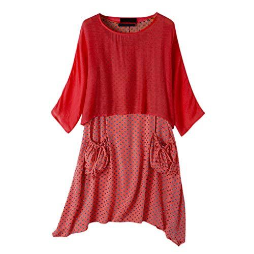 Dasongff dames zomerjurk tweedelige bovenstuk, tops + polka dots, draagjurk met tas, vintage, baggy, strandkleding, vrijetijdsjurk, onregelmatige jumpsuit, tshirt jurk, kaftan 4XL rood