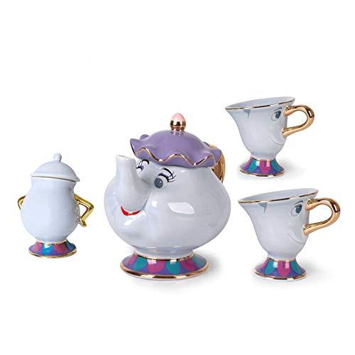 La Bella E La Bestia Mrs Potts Ceramica con Placcatura in Oro Teiera Un Set, Teacup One Set, Tea Set Figurine, Un Buon Regalo per Gli Amici 1 pentola + 2 Tazze + 1 zuccheriera