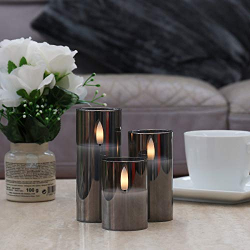 Festive Lights – Miniature LED Candles - 3 Pack Authentic Flickering Flame Effect - Battery Operated (Smoked Glass)