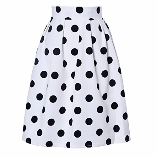 jupes femmes, Toamen Jupes Retro Puff Tutu demi-longueur Point d'onde À pois Jupe de parapluie (XL, Blanc)