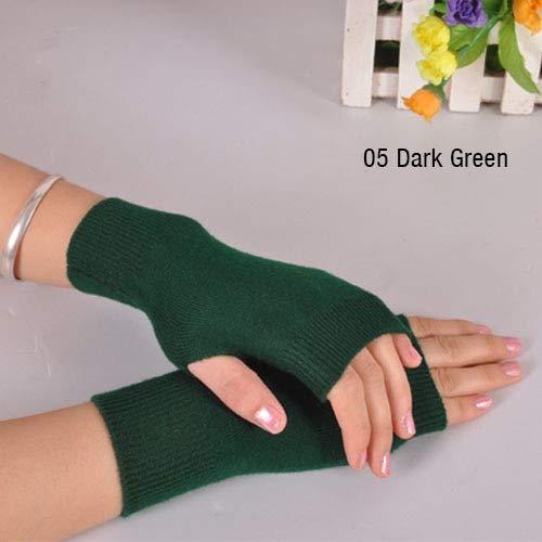 Guantes de Mujer con Dedos Expuestos Mitt Invierno Otoño de Punto para Mujeres Guantes sin Dedos Mitones de muñeca -a28