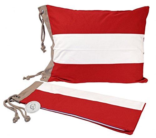 Funda de almohada Saltö de Classic Textiles of Sweden , Couleur:rot/weiß