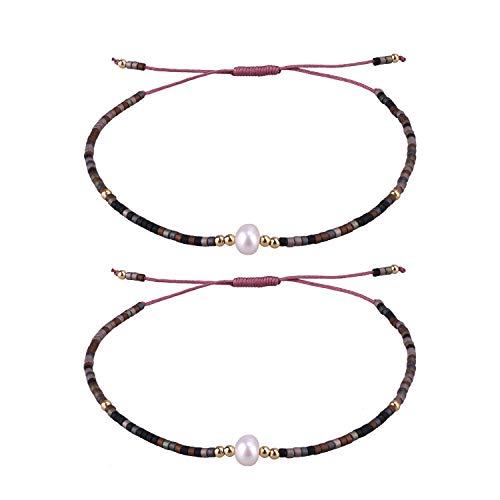 KELITCH 2 Stück Perle Freundschaft Armbänder Miyuki Perlen Gewebt Liebhaber Strang Armbänder Armreifen Geschenke (Farbe 01A)
