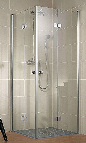 Schulte Duschkabine Garant Eckeinstieg mit Drehfalttüren 2000x1000x1000 mm, Klarglas mit Glassiegel, Profilfarbe alunatur