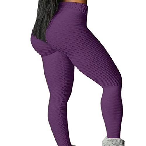 sdfa TIK Tok Leggings for Women, High Waisted Butt Lifting Textured Yoga Pants, Booty Butt Crack Tights Seamless Leggings Scrunch Bubble Running Pants (L, Purple)