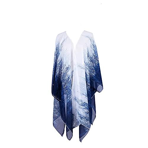 YOUCAI Kimono en Mousseline à imprimé Floral Châle Ample/Cardigan, Maillots de Bain pour Femme Dégradé Bleu et Blanc Taille Unique