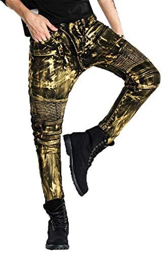 Herren Bikerjeans Motorrad Denim Hose Hrenjeans Herrenmode Jeans Skinny Coated L019 Gold Silber Kupferig W28 Bis W34 (Color : Gold, Size : 28)