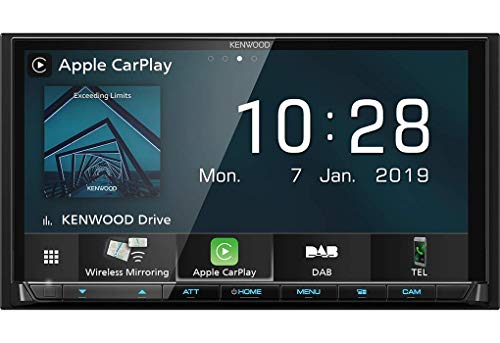 Kenwood DMX8019DABS 17,7 cm WVGA Digital Media Moniceiver mit DAB+, Wireless CarPlay, Android Auto, Wireless Android Mirroring, WiFi, Dual-USB, HI-Res Audio, kapazitiver Touchscreen
