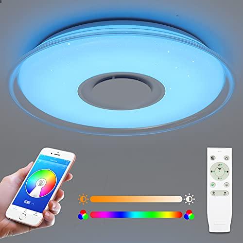 Plafón LED 36W con altavoz bluetooth, 3000 lúmenes Ø45cm, control remoto o APP, cambio de color RGB, Regulable, plafones para salón, habitación infantil, dormitorio, Pasillo