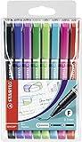 Fineliner mit gefederter Spitze - STABILO SENSOR F - fein - 8er Etui - schwarz, blau, lila, grün, hellgrün, türkis, pink, rot