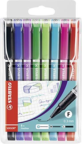 Fineliner mit gefederter Spitze - STABILO SENSOR F - fein - 8er Pack - mit 8 verschiedenen Farben