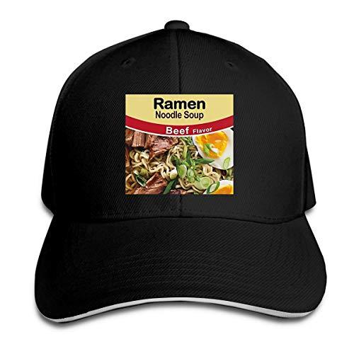 Queen Elena Ramen Nudle Suppe Rindfleisch Geschmack, bedruckt, reiner Farbe, Sandwichhut, Frühlingshut, Sommer, Snapback Gr. Einheitsgröße, Schwarz