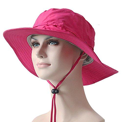 YYGIFT® Multifonctionnel Neuf extérieur Chapeau de Cowboy caches à Large Bord Sun Block Pliable Chapeaux Pêche Golf Chapeau, Rose Rouge