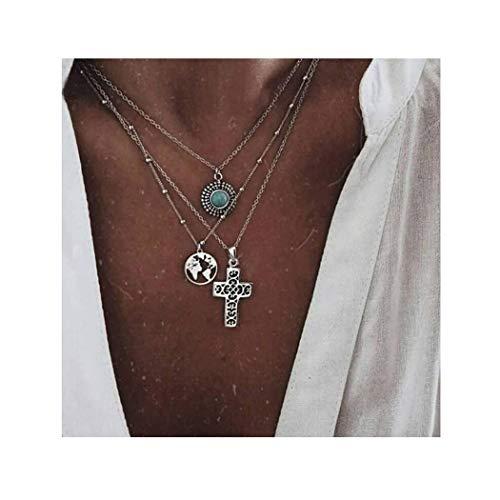 Nicute Collar con colgante de cruz bohemio, collar de plata, collar de joyería para mujeres y niñas