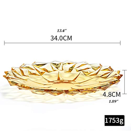 Yyqx Fruit Bowl Crystal Glass Fruit Basket Living Room Coffee Table Fruit Plate European Candy Basin Dried Fruit Snack Storage Basket Fruit basket (Color : Gold, Size : B)