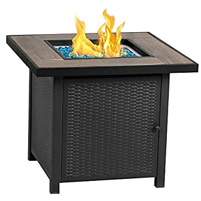 BALI OUTDOORS Propane Fire Pit Table, 30 Inch Gas Fire Pits Outdoors, Square Fire Table w/Fire Glass, 50,000 BTU
