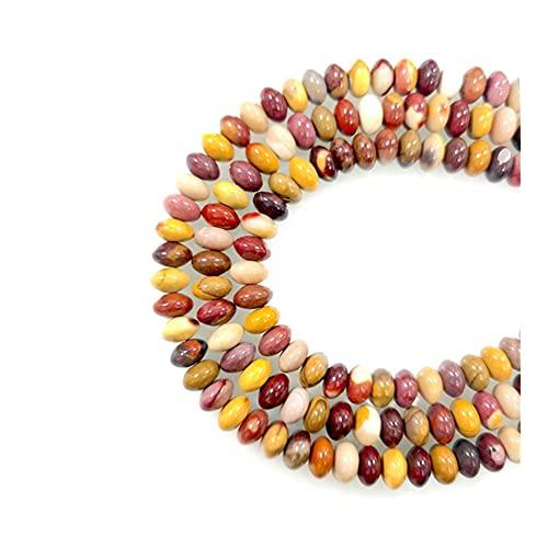 KAUG Hermosa Piedra de Piedras Preciosas de 5x8mm Piedra Natural Online Flojo Beads Redondo Strand Mooukite Hacer Bricolaje Pulsera de joyería Collar de Riqueza energía (Item Diameter : 4x6mm)